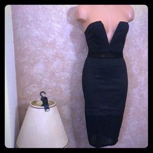 NWT REVERSE Sexy Strapless Deep V Line Dress
